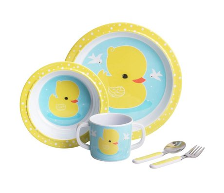 A Little Lovely Company Children's service Duck blue yellow set of 4