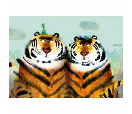 KEK Amsterdam Behang Two tigers multicolor vliespapier 389.6 x 280 (8 sheets)