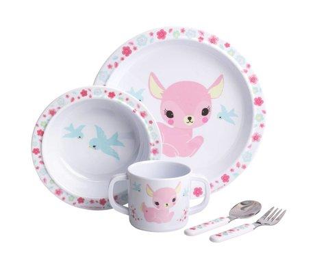 A Little Lovely Company Kinderservice Deer pink 4er Set