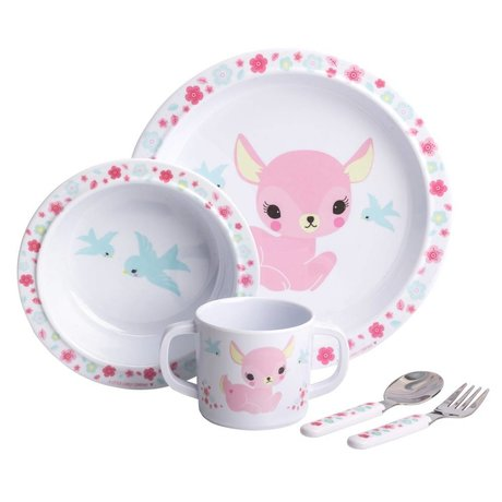 A Little Lovely Company Children's service Deer pink set of 4