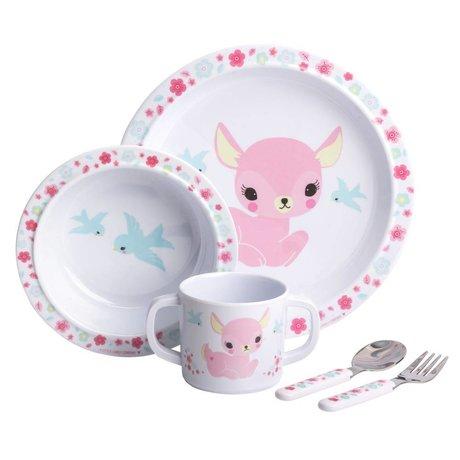 A Little Lovely Company Kinderservies Hertje roze set van 4