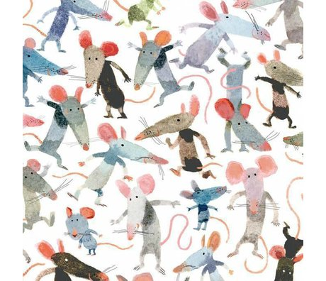 KEK Amsterdam Behang Little mice multicolor vliespapier 292.2 x 280 (6 sheets)