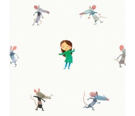 KEK Amsterdam Behang Little mice multicolor vliespapier 97,4 x 280cm