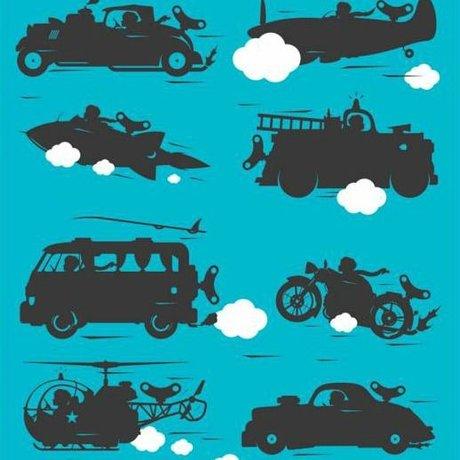 KEK Amsterdam Behang vehicles turquoise multicolor vliespapier 97,4 x 280cm