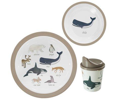Sebra Kinderservies Arctic animals lichtbruin melamine set van 3
