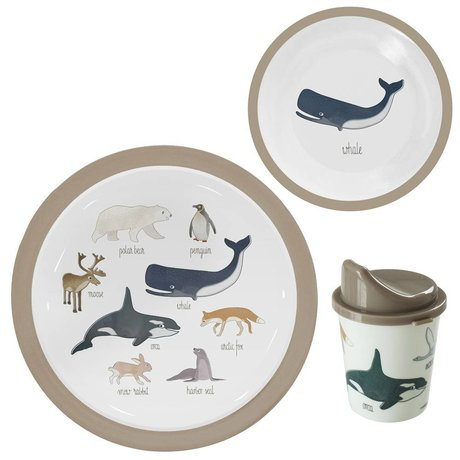 Sebra Kinderservice Arktis Tiere hellbraunes Melamin 3er Set