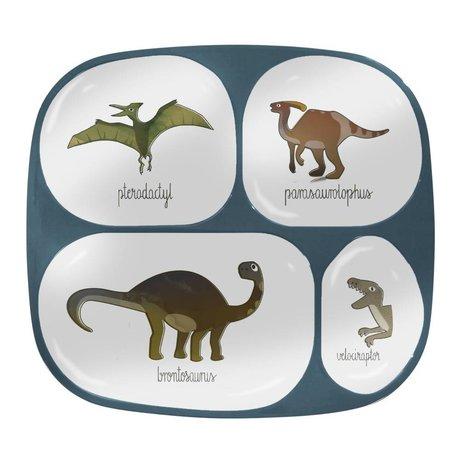 Sebra Tableau pour enfants quatre boîtes Dino bleu mélamine 24x21x2cm