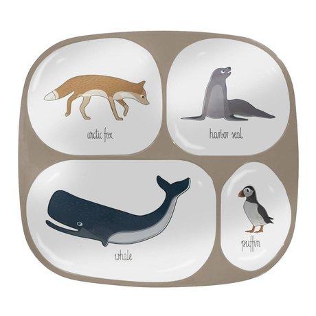 Sebra Kinderbord vier vakjes Arctic animals lichtbruin melamine 24x21x2cm