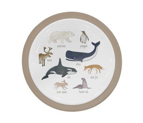 Sebra Kinderbord Arctic animals lichtbruin melamine Ø21,5x2cm
