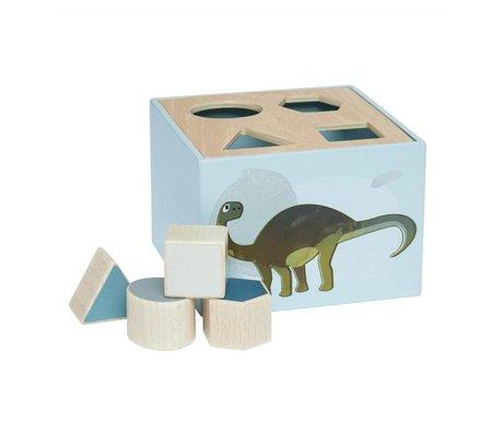 Sebra Formen puzzle Dino blau Holz 14x14x10cm