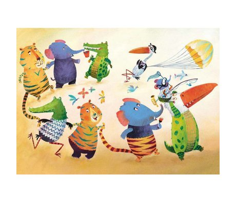 KEK Amsterdam Behang Dancing animals multicolor vliespapier 389.6 x 280 (8 sheets)