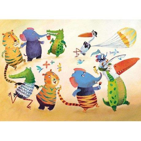 KEK Amsterdam Wallpaper Dancing animals multicolor fleece paper 389.6 x 280 (8 sheets)