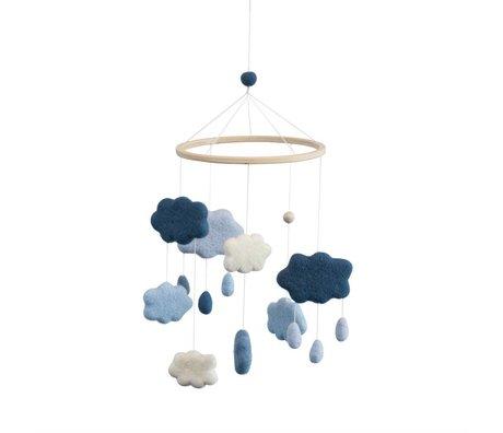 Sebra Nuages mobiles textiles bleus Ø22x57cm