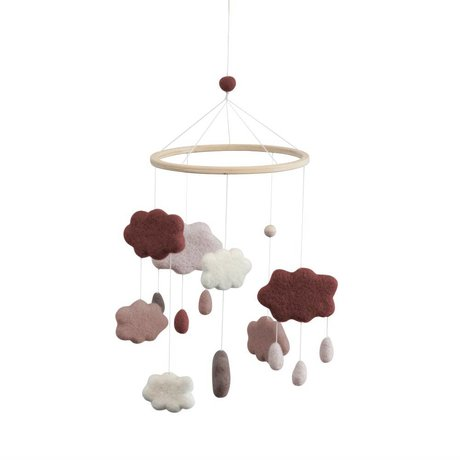 Sebra Nuages mobiles prune rose textile Ø22x57cm