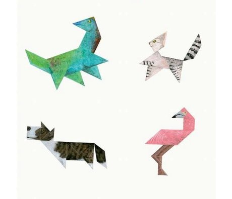 KEK Amsterdam Behang Tangram Animals multicolor vliespapier 97,4 x 280cm