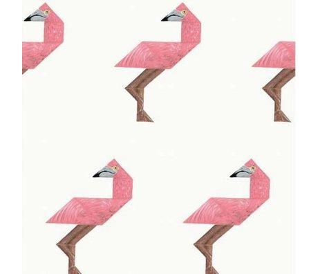 KEK Amsterdam Behang Tangram Flamingo multicolor vliespapier 97,4 x 280cm