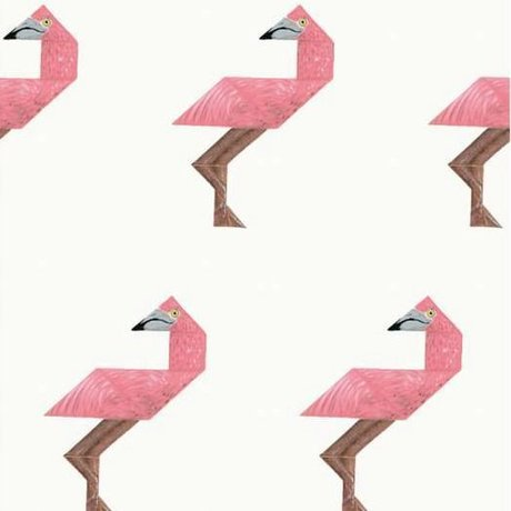 KEK Amsterdam Tapete Tangram Flamingo multicolor Vlies 97,4 x 280cm