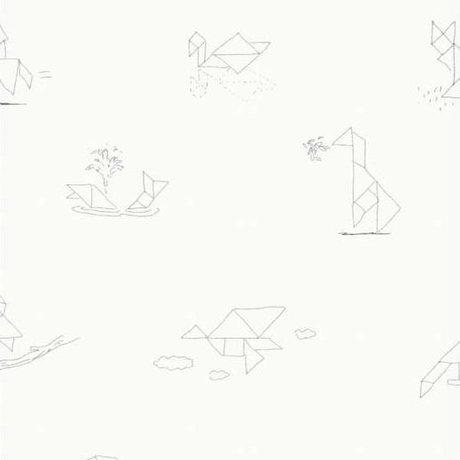 KEK Amsterdam Behang Tangram Animal Sketches multicolor vliespapier 97,4 x 280cm