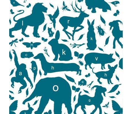 KEK Amsterdam Wallpaper animal alphabet petrol multicolor non-woven paper 97,4 x 280cm