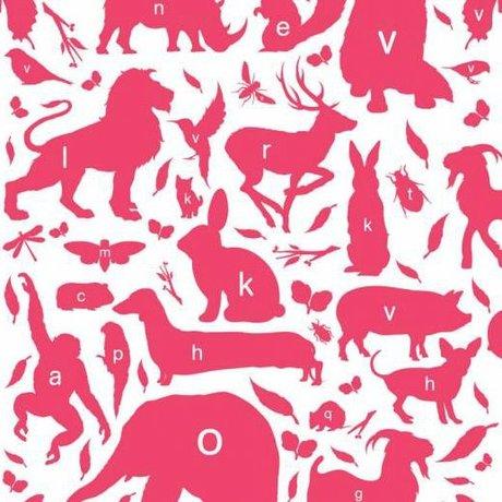 KEK Amsterdam Wallpaper animal alphabet fuchsia multicolor non-woven paper 97,4 x 280cm