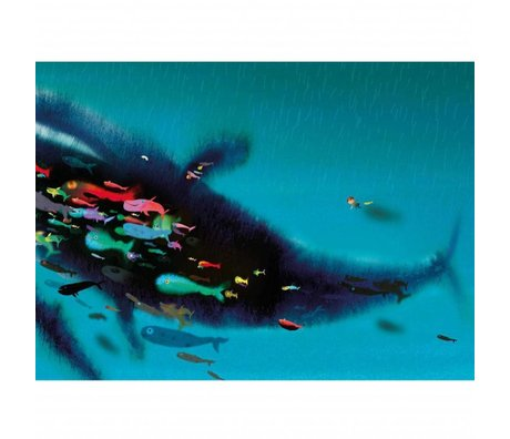 KEK Amsterdam Wallpaper Swimming with whale multicolor non-woven paper 389.6 x 280 (8 sheets)
