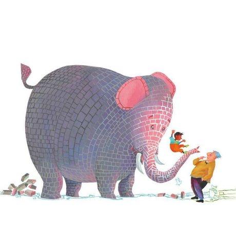 KEK Amsterdam Wallpaper Concrete elephant multicolor non-woven paper 389.6 x 280 (8 sheets)