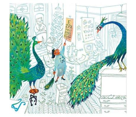 KEK Amsterdam Wallpaper Green peacocks multicolor non-woven paper 292.2 x 280 (6 sheets)