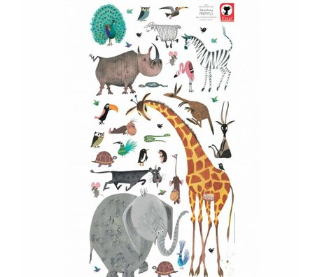 KEK Amsterdam Muurstickers Animals (XL) multicolour vinyl 97 x 180