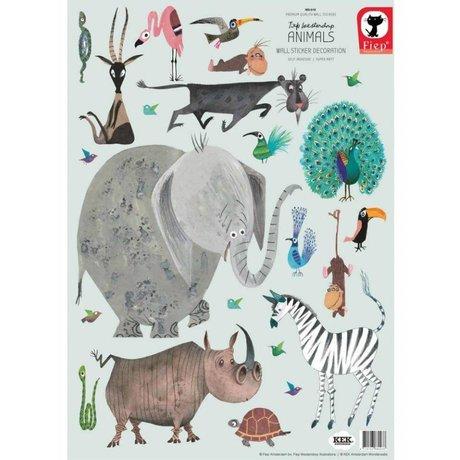 KEK Amsterdam Muurstickers Animals (set) multicolour vinyl 42 x 59