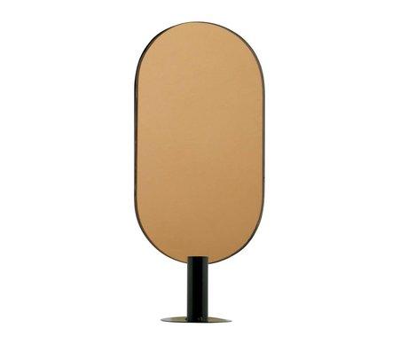WOOOD Kerzenhalter mit Spiegel Emily rechts Messing schwarz Metall 16x10x37cm