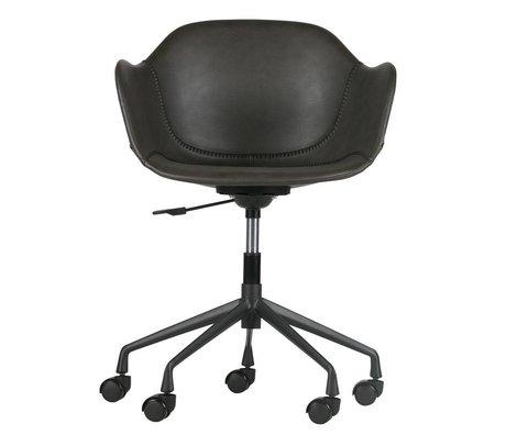 WOOOD Desk chair Fos gray PU leather 59x53,5x77-83cm