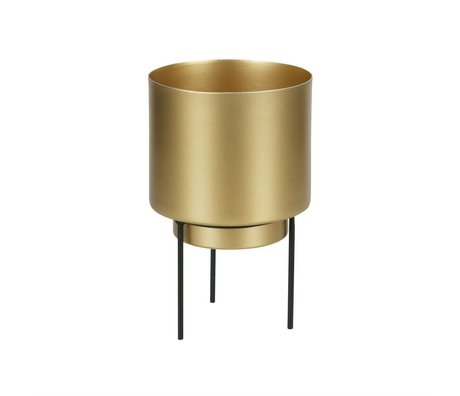 WOOOD Pot voor plant Guus brass goud metaal Ø11,5x17cm