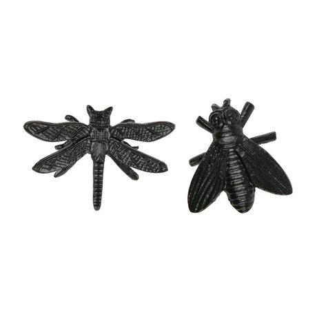 WOOOD Dekoration Insekten Chris schwarz Metall 2er Set