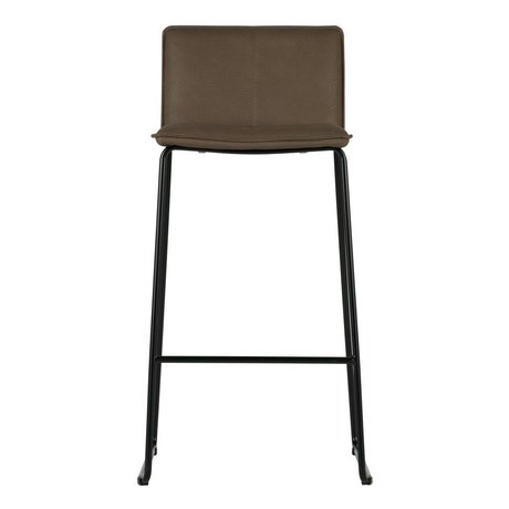 WOOOD Barstool Evan brown PU leather metal set of 2 45,5x48x101,5cm