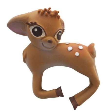 Oli & Carol Bath and teething bambi multicolour natural rubber 8x10cm