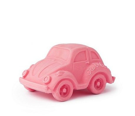 Oli & Carol Badspeeltje auto roze natuurlijk rubber 6x10cm