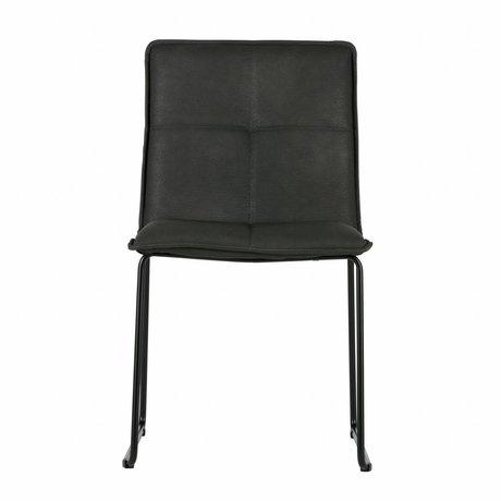 WOOOD Esszimmerstuhl Evan schwarz PU-Leder Metall-Set von 2 47,5x56x85,5cm