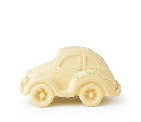 Oli & Carol Bath toy car vanilla yellow natural rubber 6x10cm