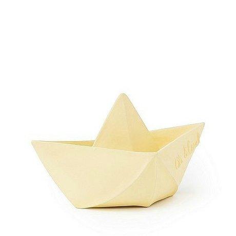 Oli & Carol Bath toy boat vanilla yellow rubber 12x7cm