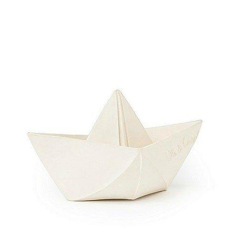Oli & Carol Badspeeltje bootje wit natuurlijk rubber 12x7cm