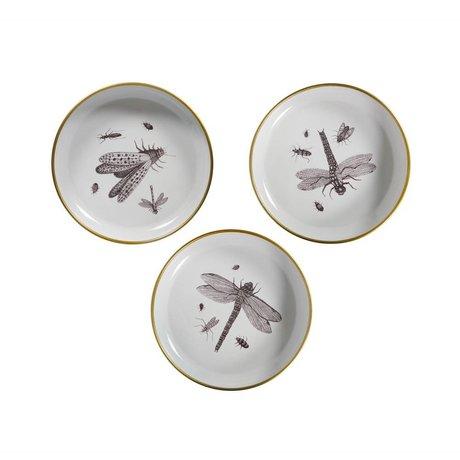 WOOOD Deko Teller Insekt Weiß Metall 3er Set Ø25x4,5cm