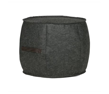 WOOOD Pouf Tile anthracite gray felt Ø49x40cm