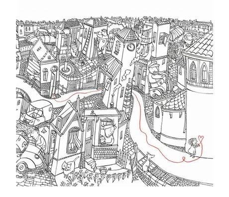 KEK Amsterdam Behang Little girl drawing multicolor vliespapier 389.6 x 280 (8 sheets)