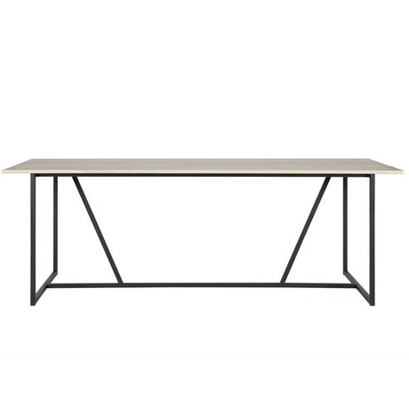 WOOOD Table à manger Silas brun naturel brossé chêne 220x90x75cm