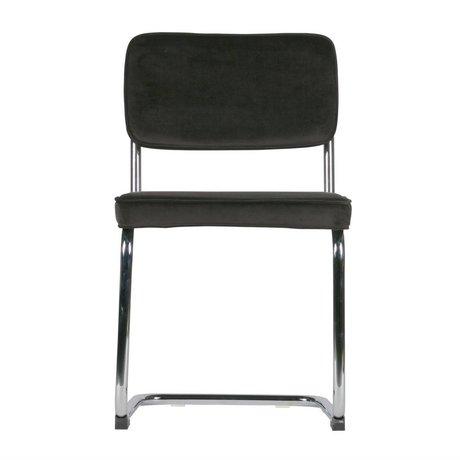 LEF collections Dining chair Lien brown chrome velvet set of 2 48x52x83,5cm