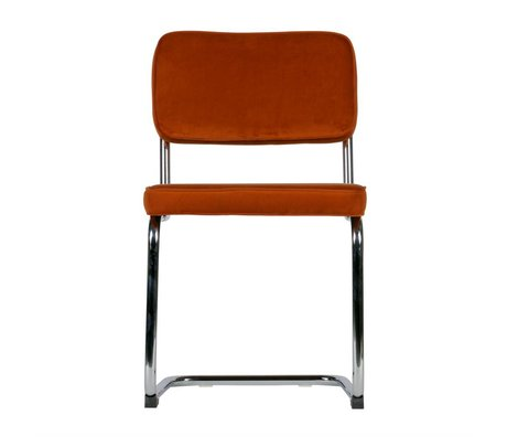 LEF collections Esszimmerstuhl Lien Rost Orange Chromsamt 2er Set 48x52x83,5cm