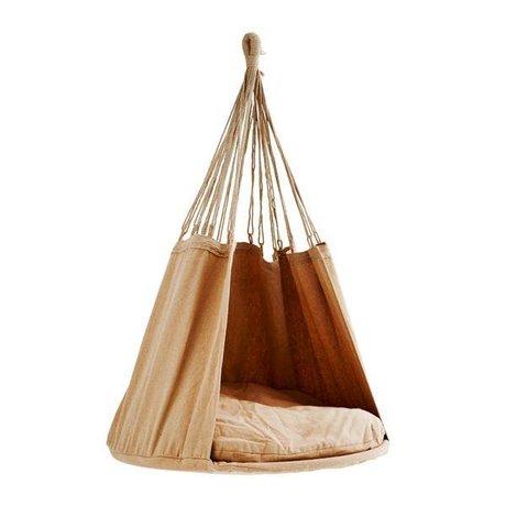 Madam Stoltz Hanging chair caramel brown textile 80x120cm