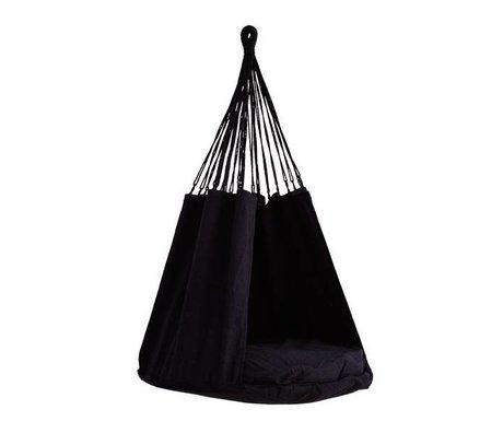 Madam Stoltz Hangstoel zwart textiel 80x120cm