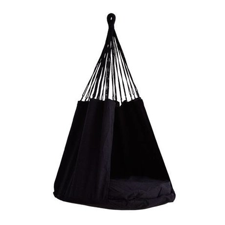 Madam Stoltz Hängesessel schwarz Textil 80x120cm