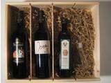 Strozzi Toscaans genot; 2 heerlijk flessen rode wijn, olijfolie en een handgeblazen olijfoliekannetje